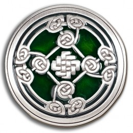 Irish Knotwork Shield Buckle with Emerald Green Enamel!