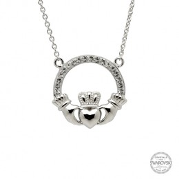 Sterling Silver Claddagh Necklace Encrusted w/ Swarovski Crystals (SW46)