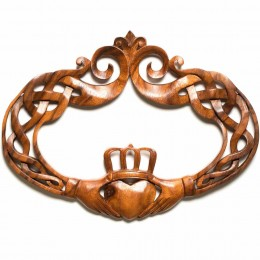 Hand Carved Mahogany Claddagh Oval