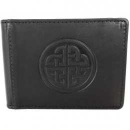 Irish Leather Knot Work Money Clip and Card Holder