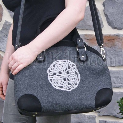 Celtic Knot tote carry-on with Bold Silver Embroidery