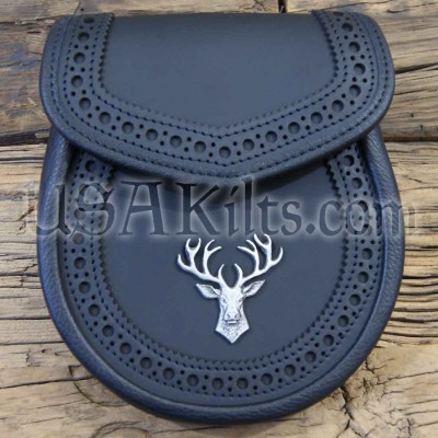 Artisanal Black Leather Day sporran with Stag mount
