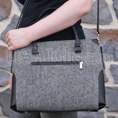 Marled herringbone tweed lady's bag includes hues of slate, turquoise, silver, goldenrod, rust and more beautiful colors.