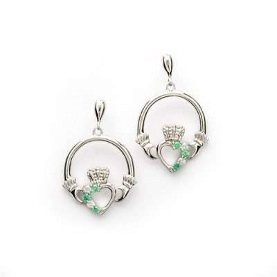 SE1053 Silver green cz claddagh earrings