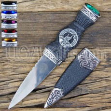 Irish Clan Crest Sgian Dubh Knife with Stones