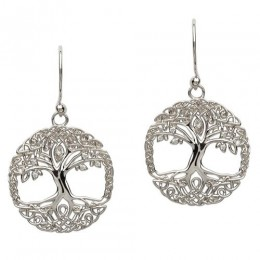 SE2103CZ Sterling Silver Tree of Life CZ Earrings