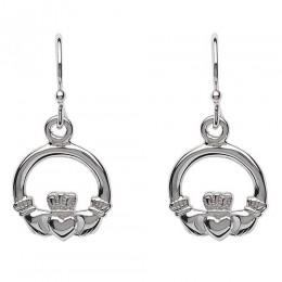SE2118 Sterling Silver Claddagh Drop Earrings