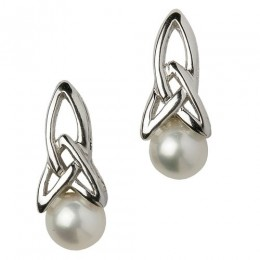 SECP1 Sterling Silver Trinity Knot Pearl Earring