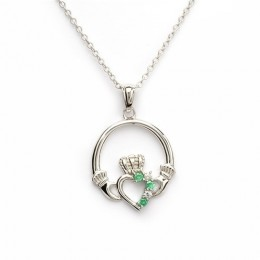Sterling Silver w/ Green CZ Claddagh Pendant (SP1053)