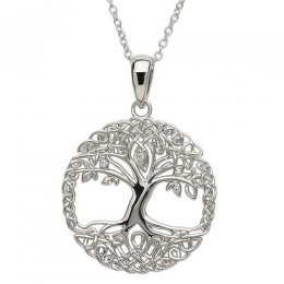 Sterling Silver Tree of Life w/ CZ Pendant Necklace (SP2102CZ)