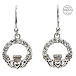 Sterling Silver Claddagh Drop Earring w/ Swarovski Crystals (SW48)