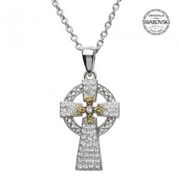 Sterling Silver Gold Plated Celtic Cross with Swarovski Crystals (SW94)