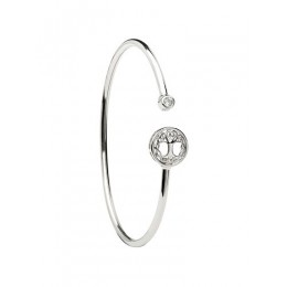 Sterling Silver Tree of Life CZ Bangle (TD243)