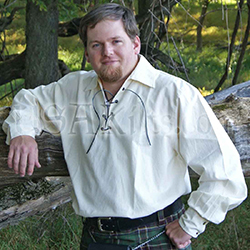 Scottish wedding dress can include traditional shirts for men