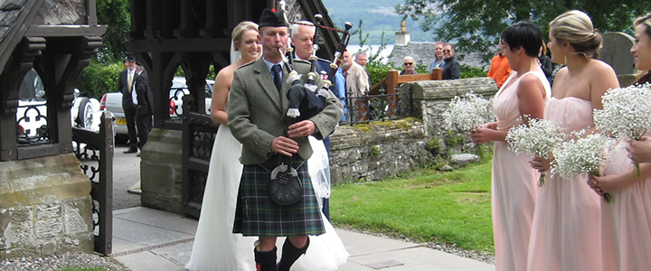Leading the bride into the ceremony space is a classic role for the bagpiper.