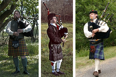 Pipers usually wear argyll or tweed