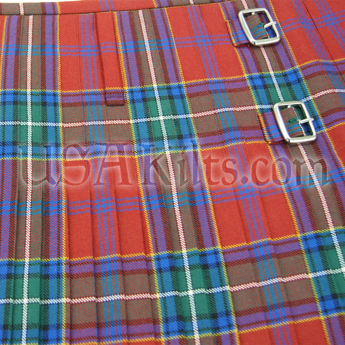 Top Stitched 8 Yard Kilt Pleats and Buckles